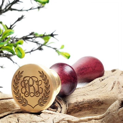 "Custom Personalized Wax Seal Stamp Made in USA 3-Initial Monogram on  1"" Die-- #203 Tiffany Monogram with Laurel Border"