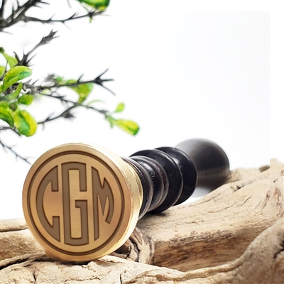"Custom Personalized Wax Seal Stamp Made in USA 3-Initial Monogram on  1"" Die-- #71 Circle Monogram"