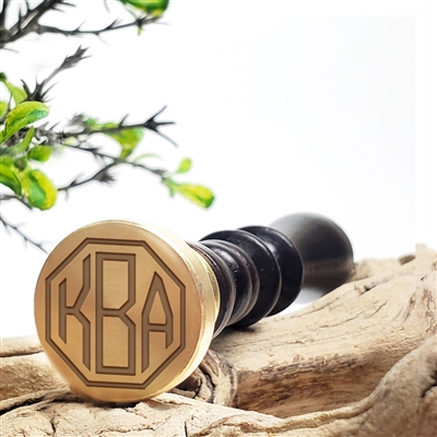 "Custom Personalized Wax Seal Stamp Made in USA 3-Initial Monogram on  1"" Die-- #72 Octagon Monogram"