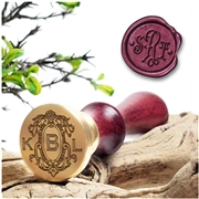 "Custom Monogram Wax Seal Stamp 3-Initials on  1"" Die- multiple layout options"