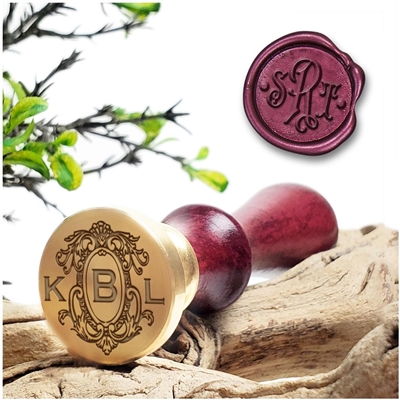 "Monogram 3-Initial Wax Seal Stamp  on 1"" Die-Decorative Layout  & handle options"