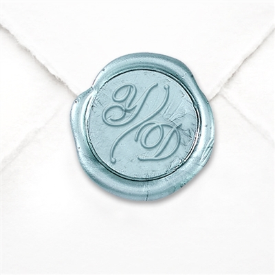 "Custom Wax Seal Stickers 50PK- 1 1/4"" -2 Letter Shelley with Arc Divider"