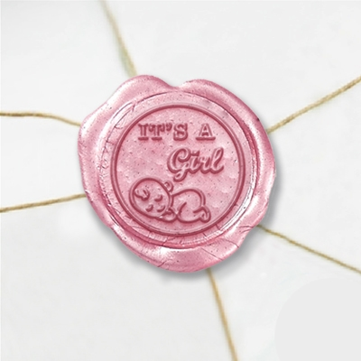 "Wax Seal Stickers-50PK- 1""- Its a girl"