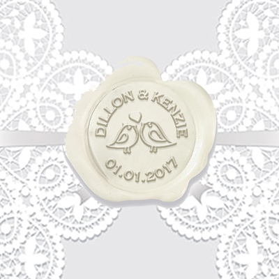 Adhesive Wax Seals 50Pk Hand Pressed - Love Birds  Names & Date 1 1/4""
