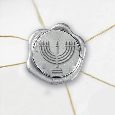 Menorah Wax Seal Stickers-50 Stickers-50PK- 1""