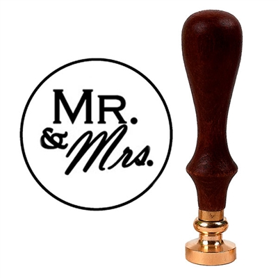 Wax Seal Stamp with Brown Wood Handle & Round Brass die - Mr. & Mrs.