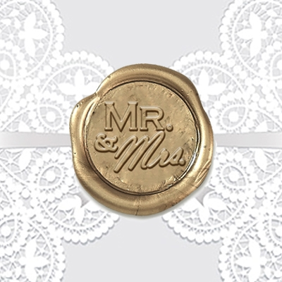 "Mr & Mrs Adhesive Wax Seal Stickers Hand Pressed - 1"" Symbol"