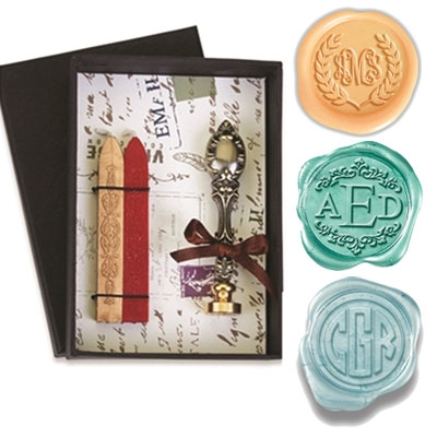 Monogram Wax Seal Kit with Vintage Bronze Handle Red and Gold Sealing Wax