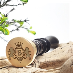 Custom Initial Wax Seal Stamp --Lions Shield & Crown Futura #2704