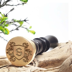 Custom Initial Wax Seal Stamp-Shield Initial Vinque Font #549C