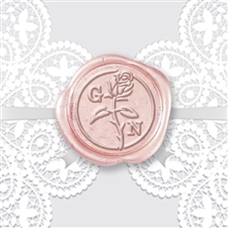 Adhesive Wax Seals 50PK Hand Pressed - Rose Stem with Century Initials 1 1/4""