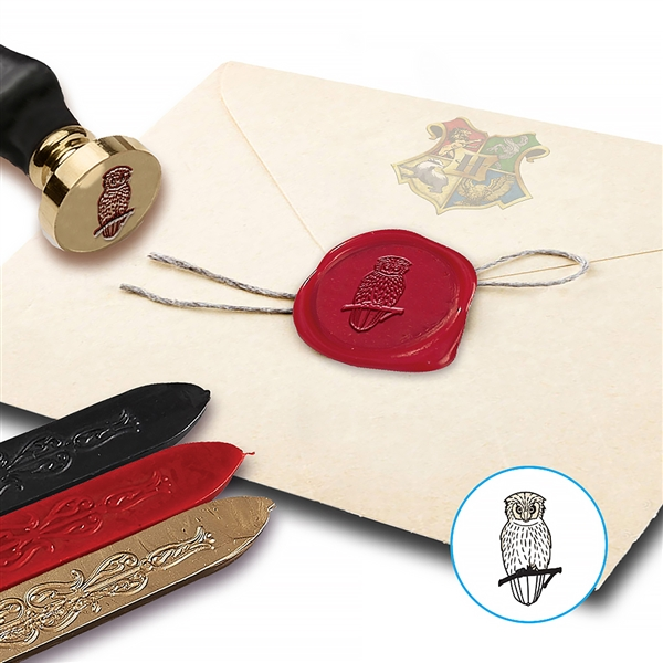 Owl Wax Seal  KIt with Brown Wood Handle & Red Black & Gold Sealing Wax