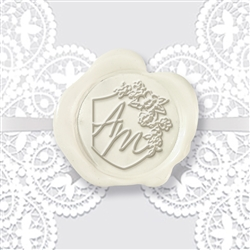 "Adhesive Wedding Wax Seals Stickers 50PK-Handpressed 1 ¼"" #7023"