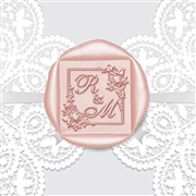 Adhesive Wax Seals 50Pk Hand Pressed - Square Shelley Allegro Duogram in Floral Border 1 3/8""