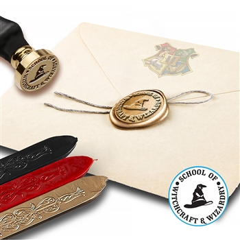Harry Potter School of Witchcraft & Wizardry Wax Seal Kit with Flexible Red Gold and Black Sealing Wax