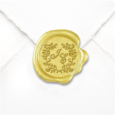 "Custom Monogram Wax Seal Stickers 50PK- 1 1/4"" -Floral Border Duogram"