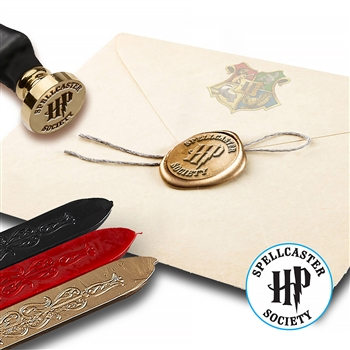Harry Potter Spellcasters Society Wax Seal Kit with Flexible Red Gold and Black Sealing Wax