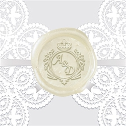 "Custom Wax Seal Stickers 50PK- 1 1/4"" Crown Shield Duogram"