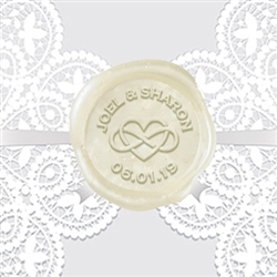 Adhesive Wax Seals 50Pk Hand Pressed - Infinity Heart Names & Date 1 1/4""