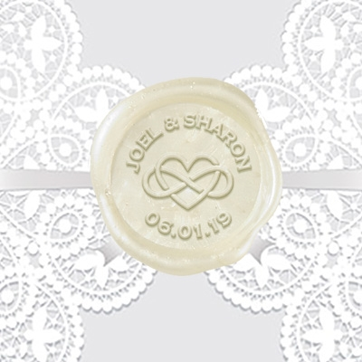 "Custom Wax Seal Stickers 50PK- 1 1/4"" Names & Date-Heart Infinity"
