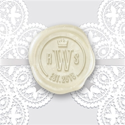 "Romans Initials & Crown Adhesive Wax Seal Stickers Hand Pressed - 1 1/4"" Wedding Duogram"