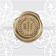 Adhesive Wax Seals 50PK Hand Pressed - Antonio Font in Wreath 1 1/4""