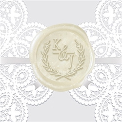 "Italic Antigua Font in Wreath Adhesive Wax Seal Stickers Hand Pressed - 1 1/4"" Wedding Duogram"