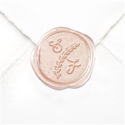 "Hand Pressed Custom Wax Seals 50PK- 1 1/4"" - Lydia Font with Laurel Branch"