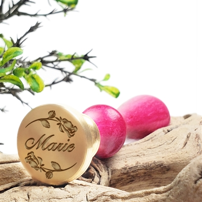 "Custom Wax Seal Stamp with Name on 1"" Die-#1184 Bird Font with Roses"