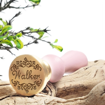 "Personalized Custom Wax Seal Stamp with Name on 1"" Die-#338 Lauren Script Font with Name & Fleurs"