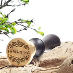 "Personalized Custom Wax Seal Stamp with Name on 1"" Die-#351 Century Font with Name & Scrolls"