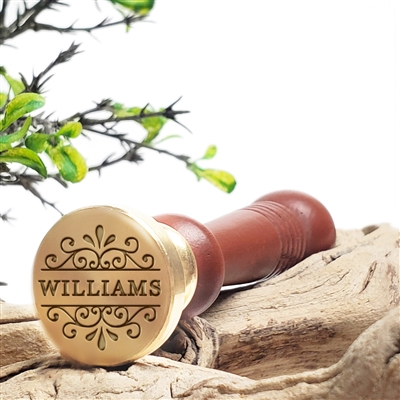"Personalized Custom Wax Seal Stamp 1"" - Scroll-work with Name"