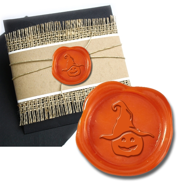 Witch Hat Purple Adhesive Symbol Wax Seal Stickers 50PK - Hand Pressed 1""