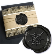 Spider Web Black Adhesive Symbol Wax Seal Stickers 50PK - Hand Pressed 1""