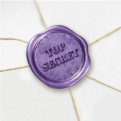 Top Secret Wax Seal Stickers-50PK- 1""