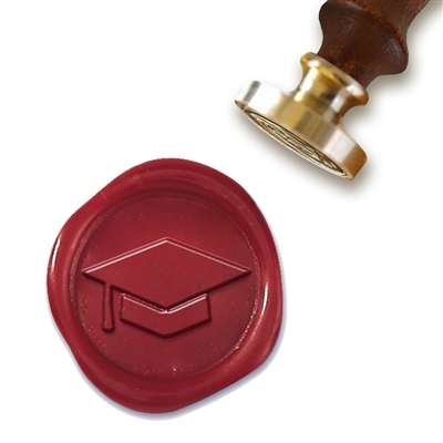 Wax Seal Stamp with Brown Wood Handle & Round Brass die - Graduation Cap