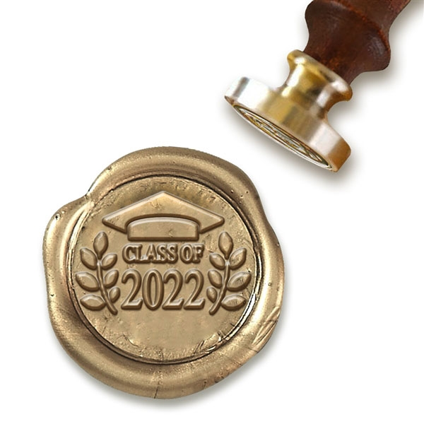 Wax Seal Stamp with Brown Wood Handle & Round Brass die - Class of 2017