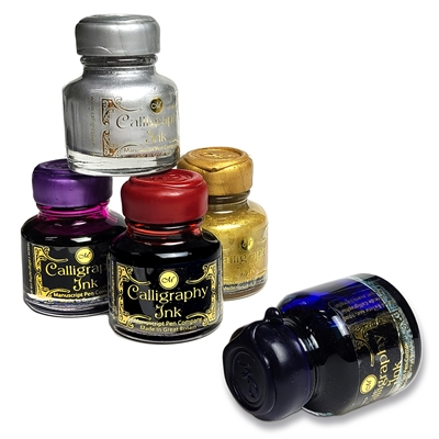 Writing Calligraphy Ink-Desktop round bottle with wax seal screw cap