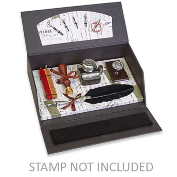 Quill Pen Writing Set  Desk Box Organizer