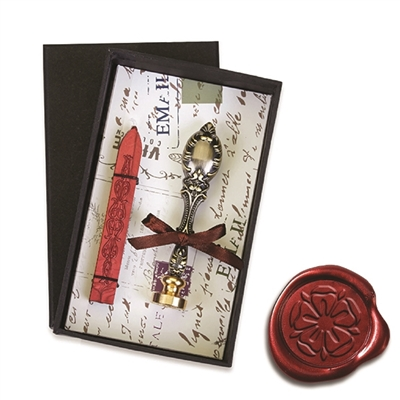 Vintage Deluxe Wax Seal Kit with Tudor Rose symbol-Red Sealing Wax