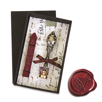 Vintage Deluxe Wax Seal Kit with Scroll & Quill symbol - Burgundy Sealing Wax
