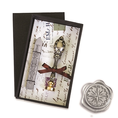 Vintage Deluxe Wax Seal Kit with Compass Symbol-Silver Sealing Wax