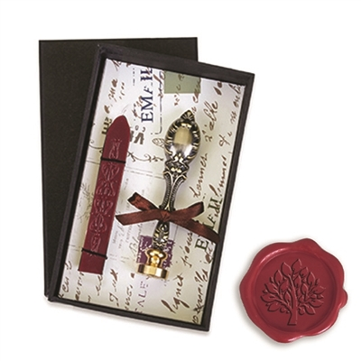 Vintage Deluxe Wax Seal Kit with Tree of Life Symbol-Burgundy Sealing Wax