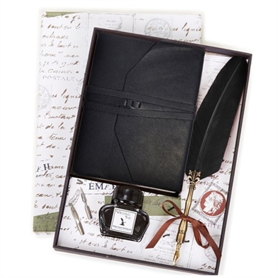 Black Leather Wrap Journal & Quill and Ink Set