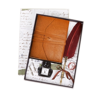 Tan Leather Wrap Journal & Quill and Ink Set