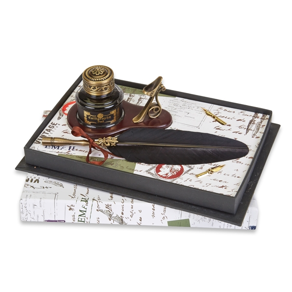 Feather Pen Set with  Holder & Inkwell Oval Desk Set-choice of feather pen