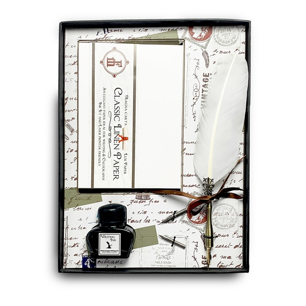 Stationery, Quill and Ink Set with Linen Note Cards, Writing Ink and Feather Quill Pen