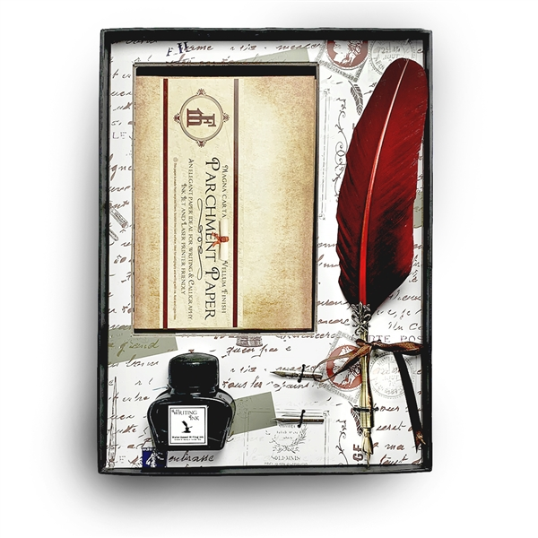 Parchment Quill and Ink Set with Note Cards, Writing Ink and Feather Quill Pen