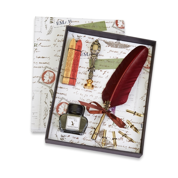 Feather Quill Pen Writing Set with Ink, Wax Seal & Red ...Writing Quill And Ink Sets