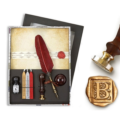 Vintage Wax Seal & Parchment Writing Set with Quill Pen, Ink,  Pen Stand, Parchment Stationery & Sealing Wax- Choice of Initial or Design